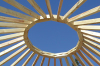 Compression ring and rafters of the yurt
