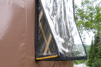 Vinyl window of the yurt